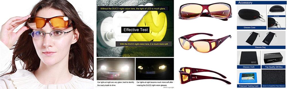 ad3de30646 Duco Night Vision Polarized Glasses – Best Wrap Around No Glare Yellow Driving  Glasses for Women
