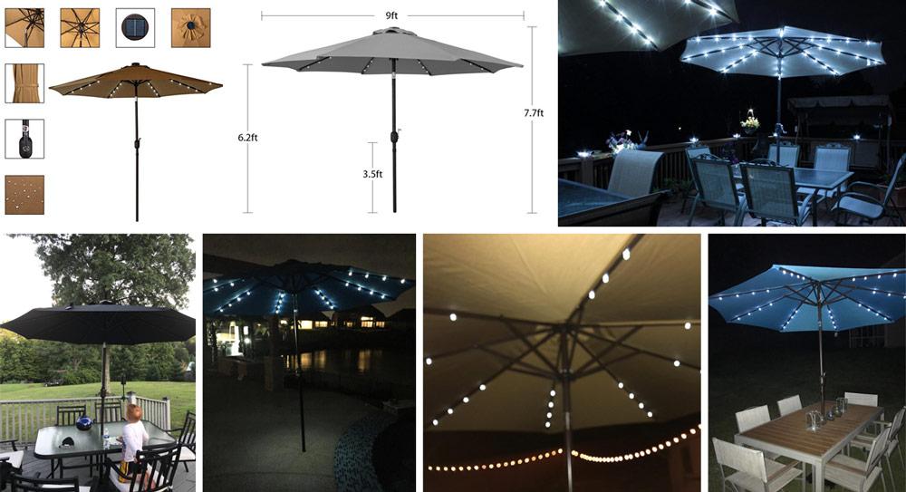 Sundale Outdoor Patio Umbrella with Tilting Crank u2013 Best 9 foot Patio Umbrella with Solar Lights & 6 Best Patio Umbrella with Solar Lights (Umbrella + LED Lights) in 2019