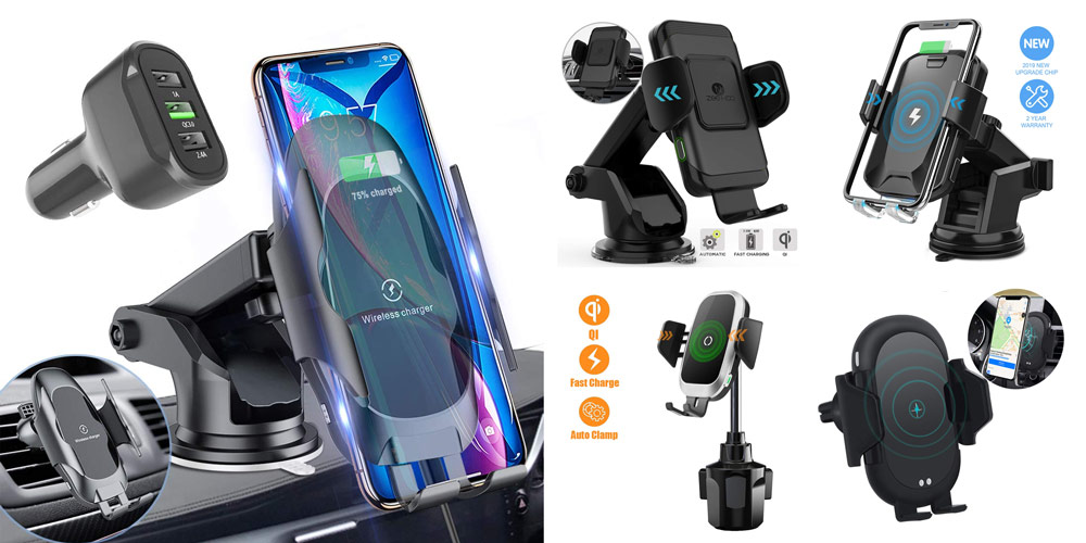 Electric Powered Automatic Clamping Car Air Vent Wireless Charging Phone Holder 10W Fast Charging for All Phones Models Blue Wireless Car Charger Mount Auto Clamping with Smart IR Motion Senors